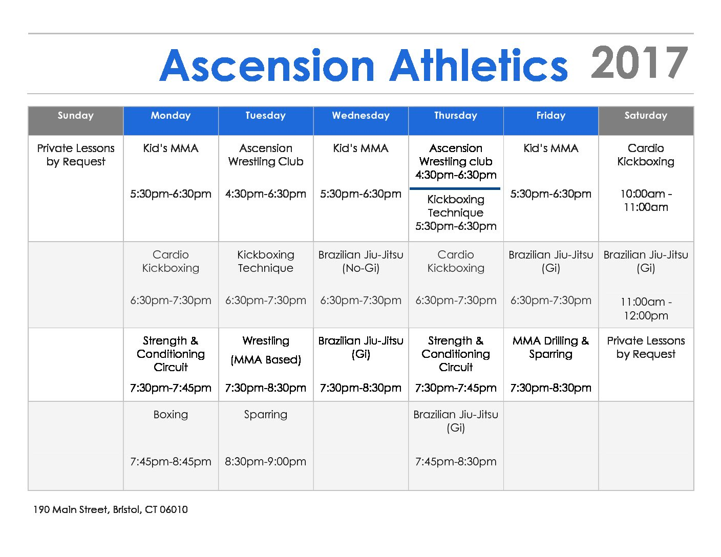 Ascension Schedule