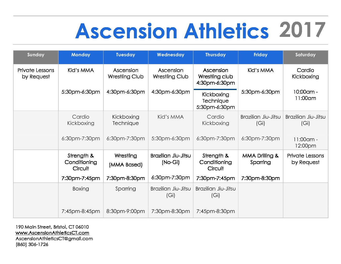 Ascension Schedule - Wrestling Included